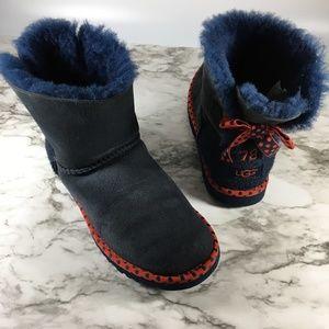 Ugg Navy Blue Polka Dot Slim Amie Short Boots